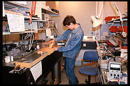 Artem Vakhitov in quantum cryptography lab